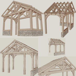 Oak porch design options drawn up for a client. Contact us today for your own free tailor made porch design and attached quotation.