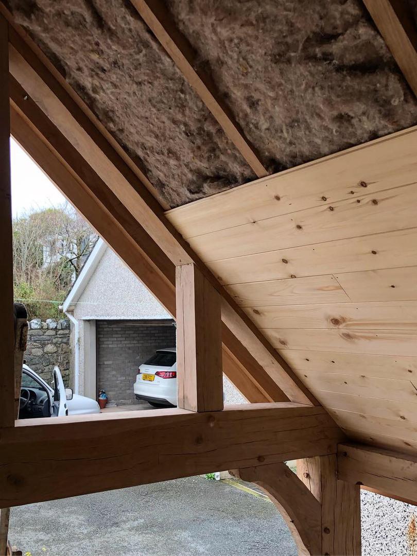 Oak framed porch, using sheeps wool insulation