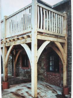 Green oak framed balconies