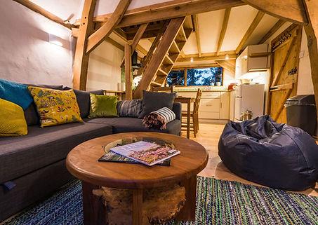Oak framed interior - Barn Conversion, Thatch roofed barn in gwynedd, North wales, wales