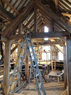 Trial fitting a bespoke oak framed porch