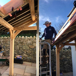 Finishing up on an oak framed porch and roofing job locally.