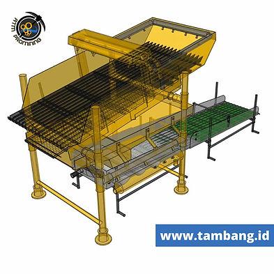 mesin dulang emas dari sisi samping belakang