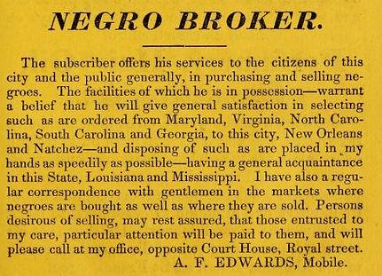Negro Broker in 1837 City of Mobile Dire