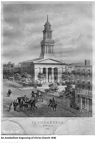 Christ Church in Mobile engraving from 1