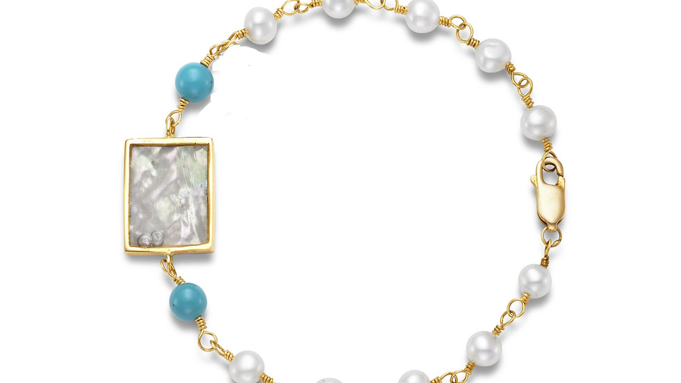 18K Yellow Gold Bracelet with Small Pendant and Choice of Beads