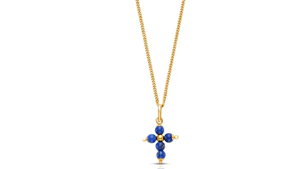 18K Yellow Gold and Lapis Cross (Chain sold separately)