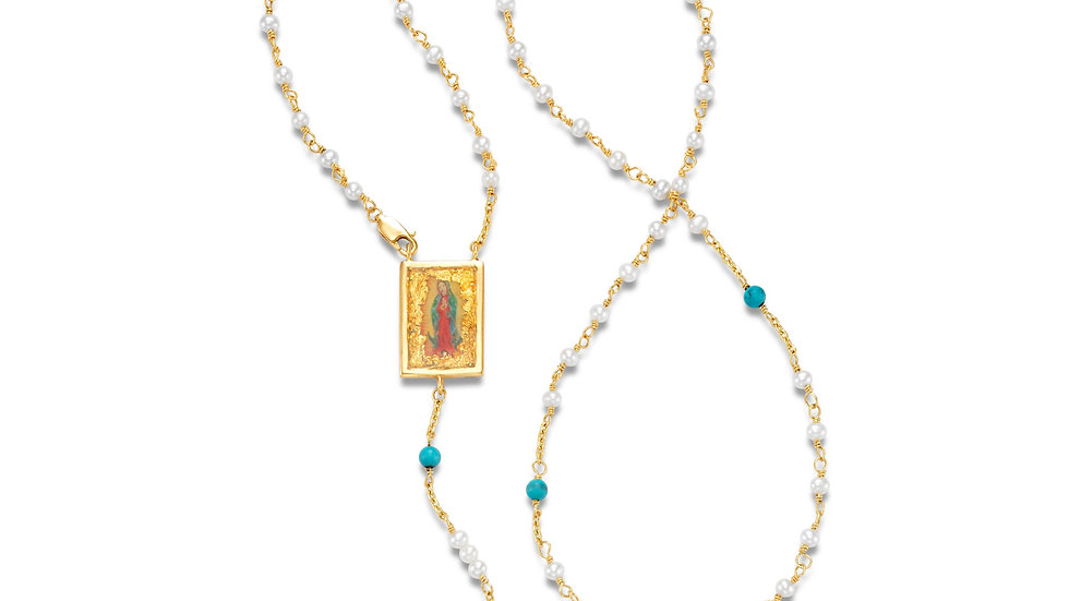 Large Pendant 18K Rosary Bead Necklace