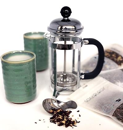 French tea press brew kit with celadon teacups