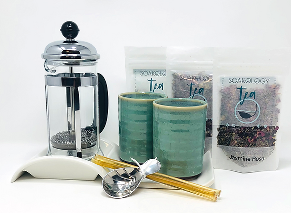 French tea press set with celadon teacups