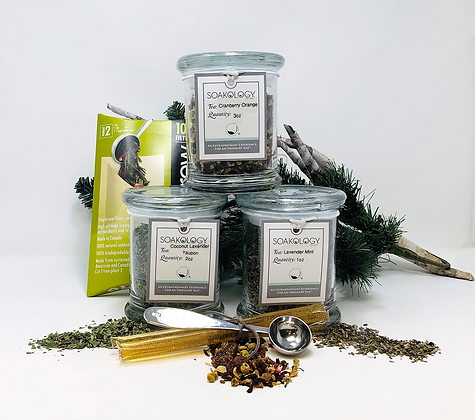 Tea trio in Glass Jars with accessories