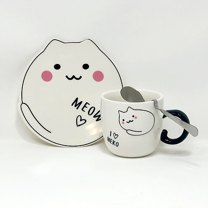 cat plate with mug and spoon