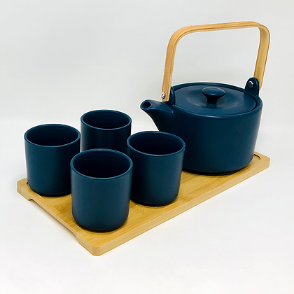 tea set with bamboo handle and tray