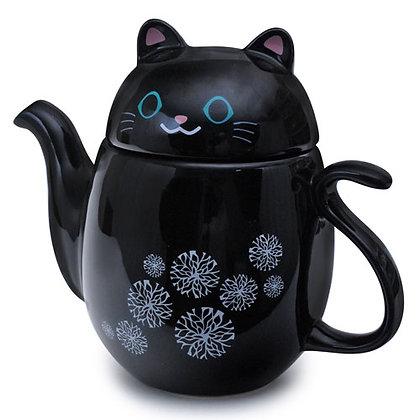 black kitty tea pot