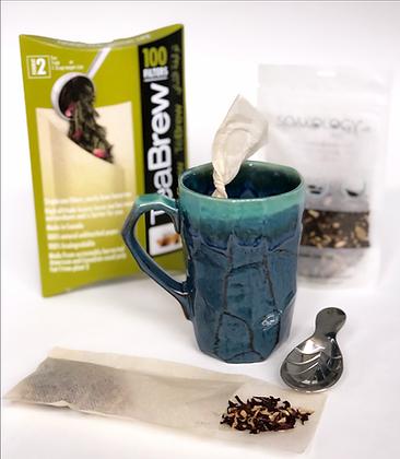 tall ceramic tea mug set