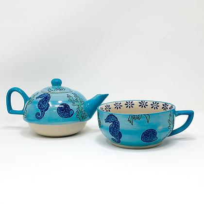 porcelain seahorse individual tea set