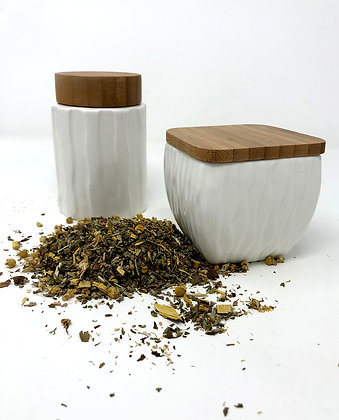 ceramic tea canisters (sold separately)