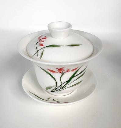 Hand painted floral porcelain gaiwan tea cup