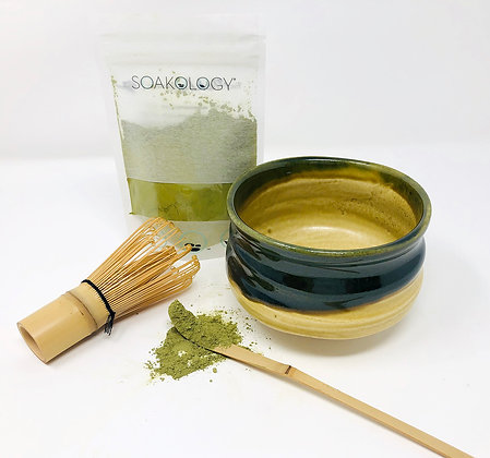 matcha set (bowl, whisk, and tea)