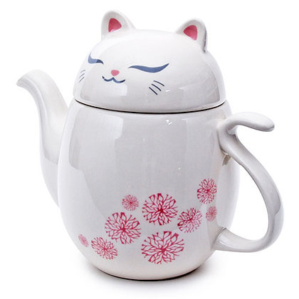 white kitty tea pot