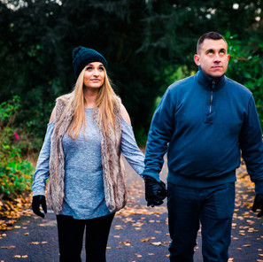 Joanne and Pete's Cosy Autumn Woodland Engagement Shoot at Towneley Hall