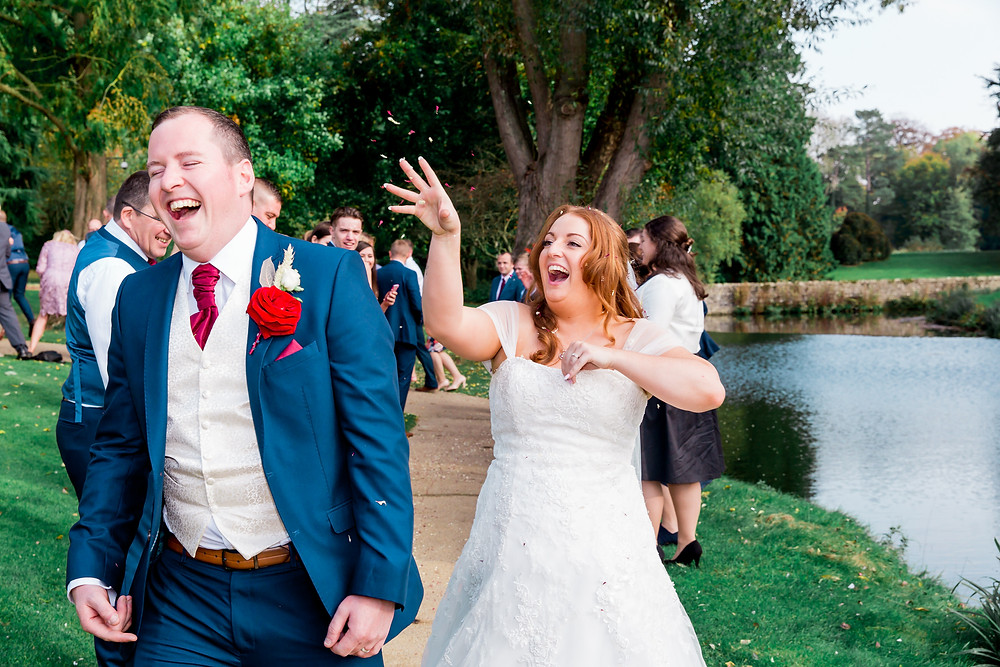 confetti throw the orangery maidstone kent outdoor wedding, documentary photographer, natural, pose free, relaxed photography,