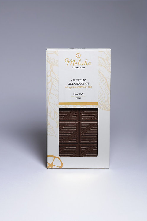 Moksha 50% Criollo Vegan Milk Chocolate Full-Spectrum CBD Bar