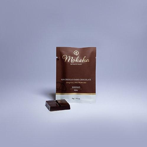 Moksha 65% Criollo Dark Chocolate Full-Spectrum CBD Square