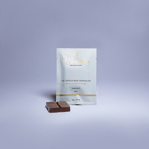 Moksha 50% Criollo Vegan Milk Chocolate Full-Spectrum CBD Square