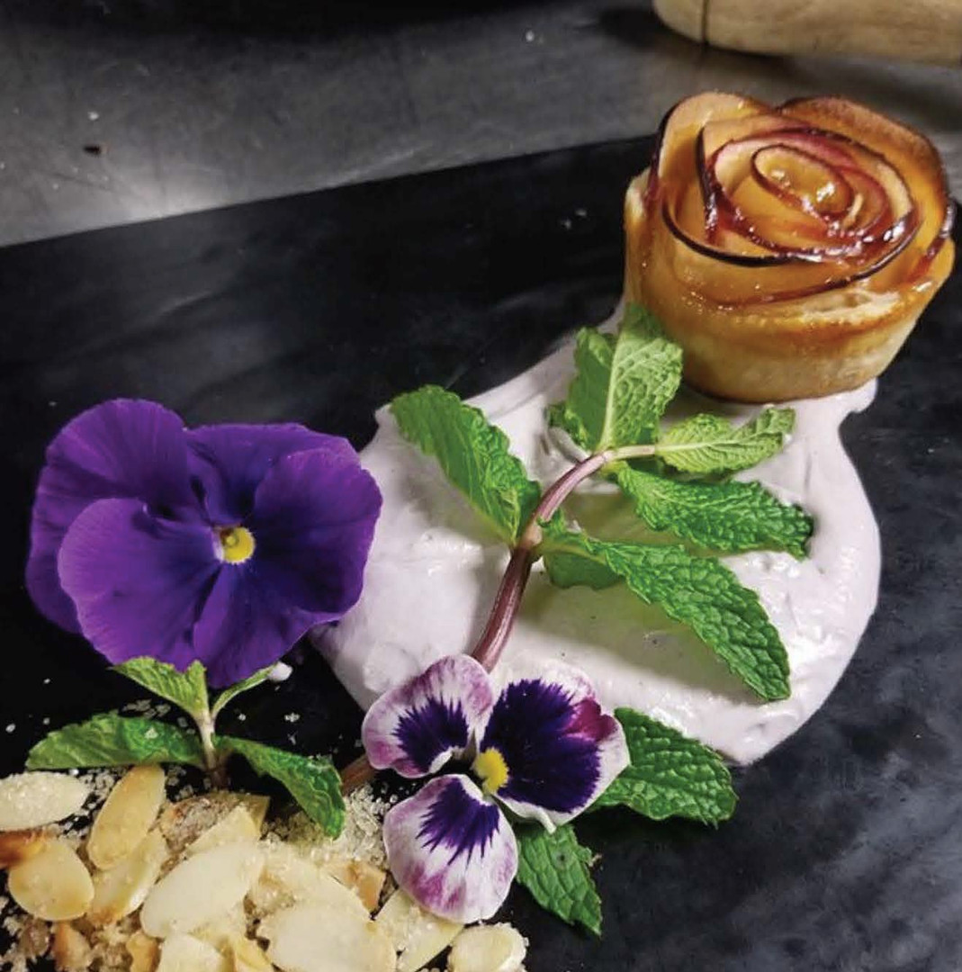 Sake Poached Apples, Apricot Preserves, Toasted Almonds & Puff Pastry with Lavender Creme
