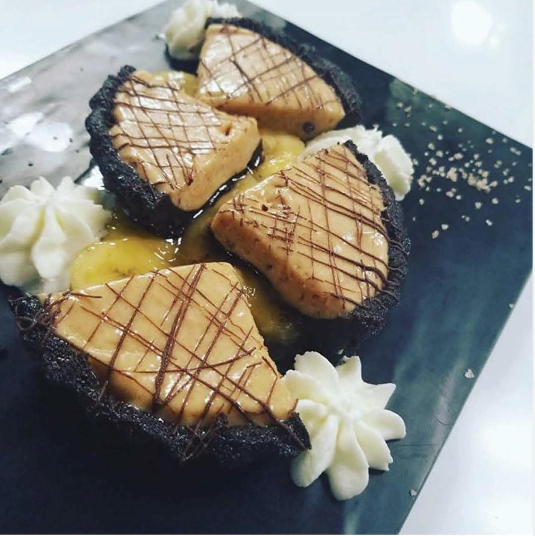 Chocolate Peanut Butter Cup with Rum Glazed Bananas & Vanilla Salt