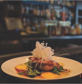 Seared Salmon Steak w Grilled Mango & Brown Sugar Soy Glaze