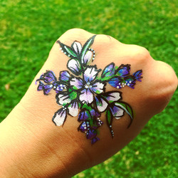 Purple flower hand paint
