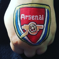Arsenal football badge hand paint