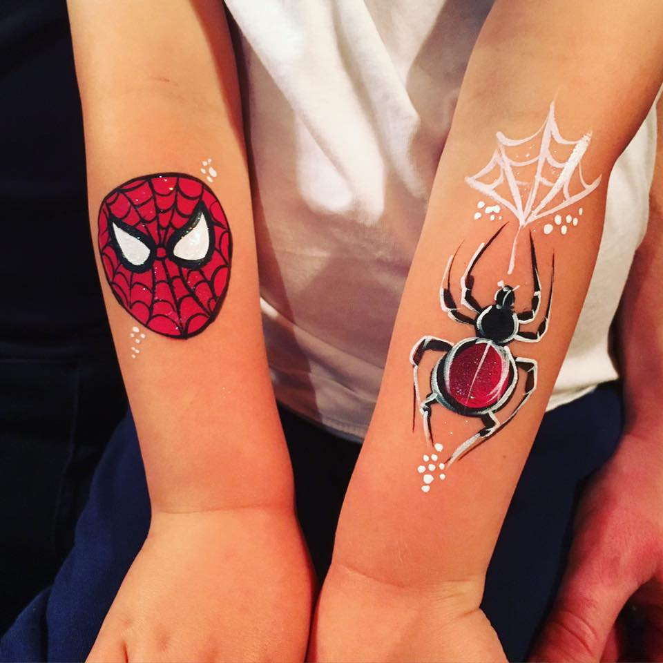 Spiderman children's arm paint