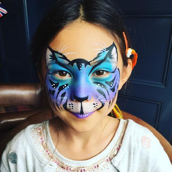Blue and purple tiger cat