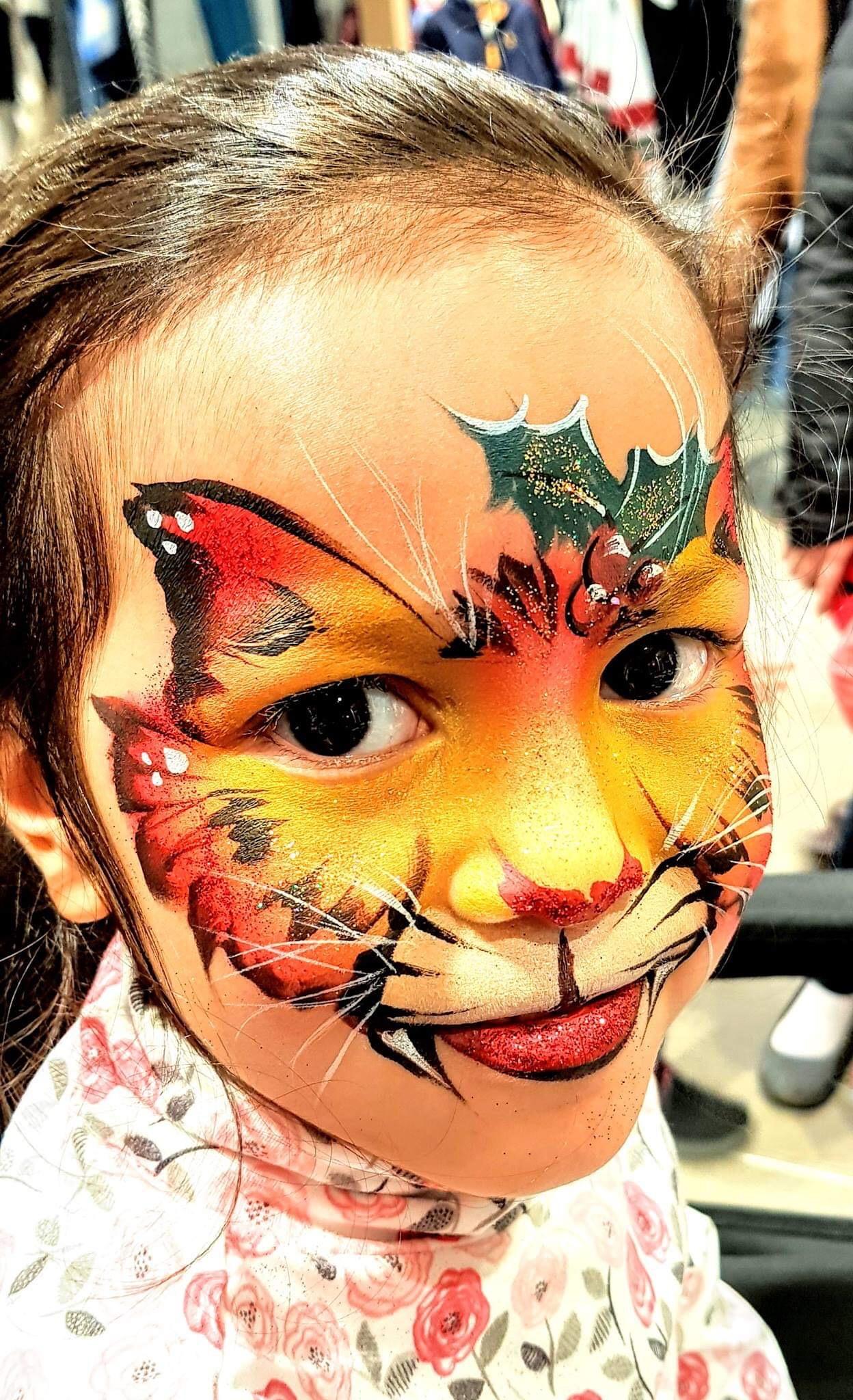Christmas cat face paint