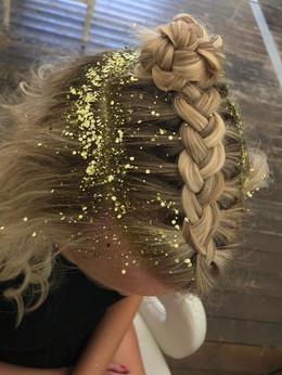 Festival glitter hair styling