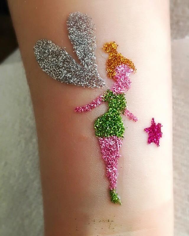 Tinkerbell glitter tattoo