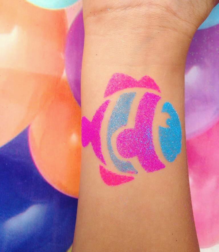 Neon temporary tattoo fish