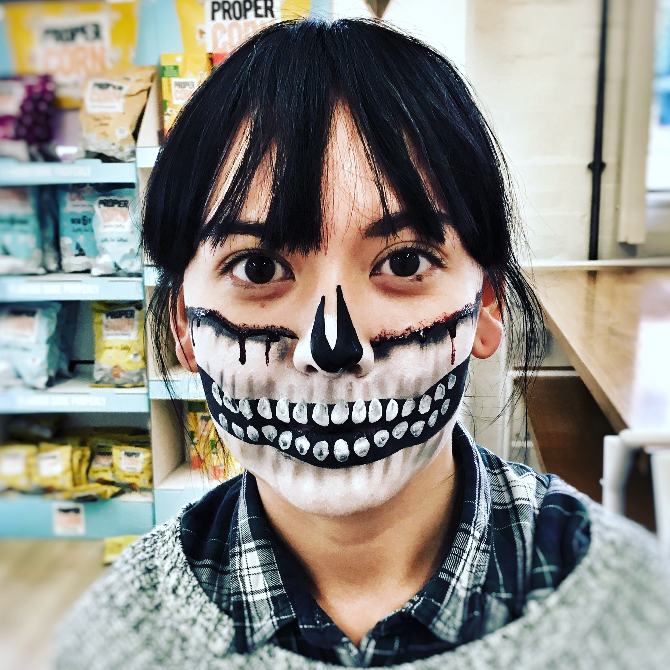 Half skull adult face paint
