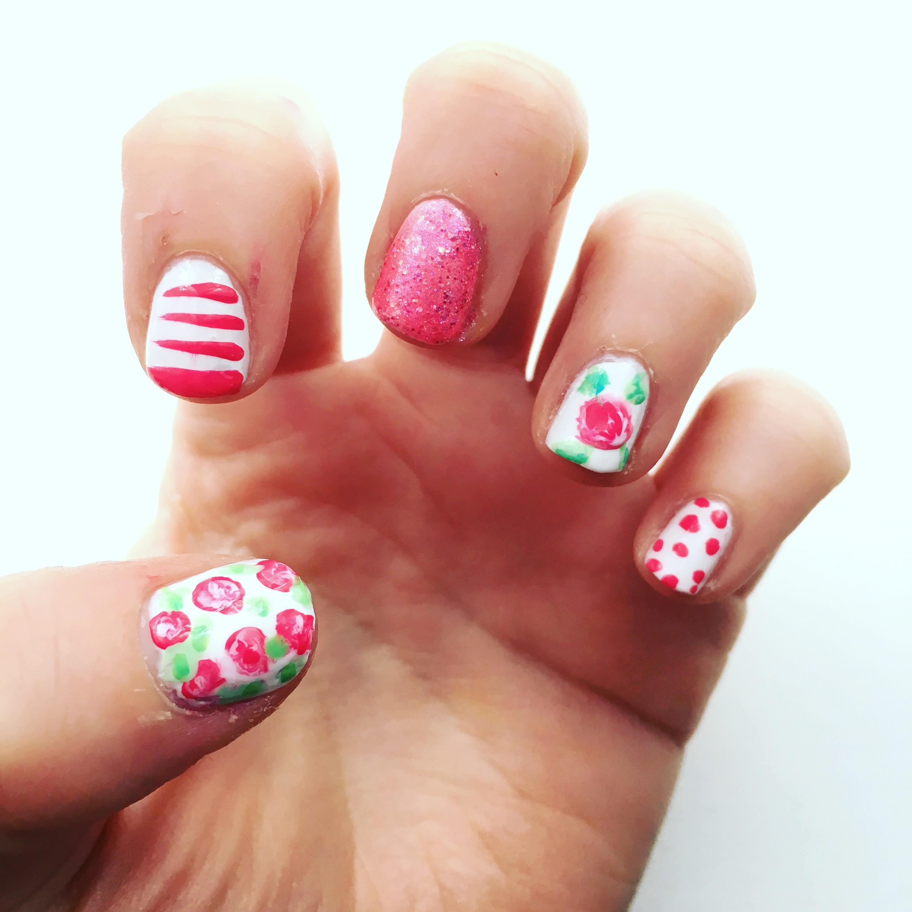 Pretty pink nail art