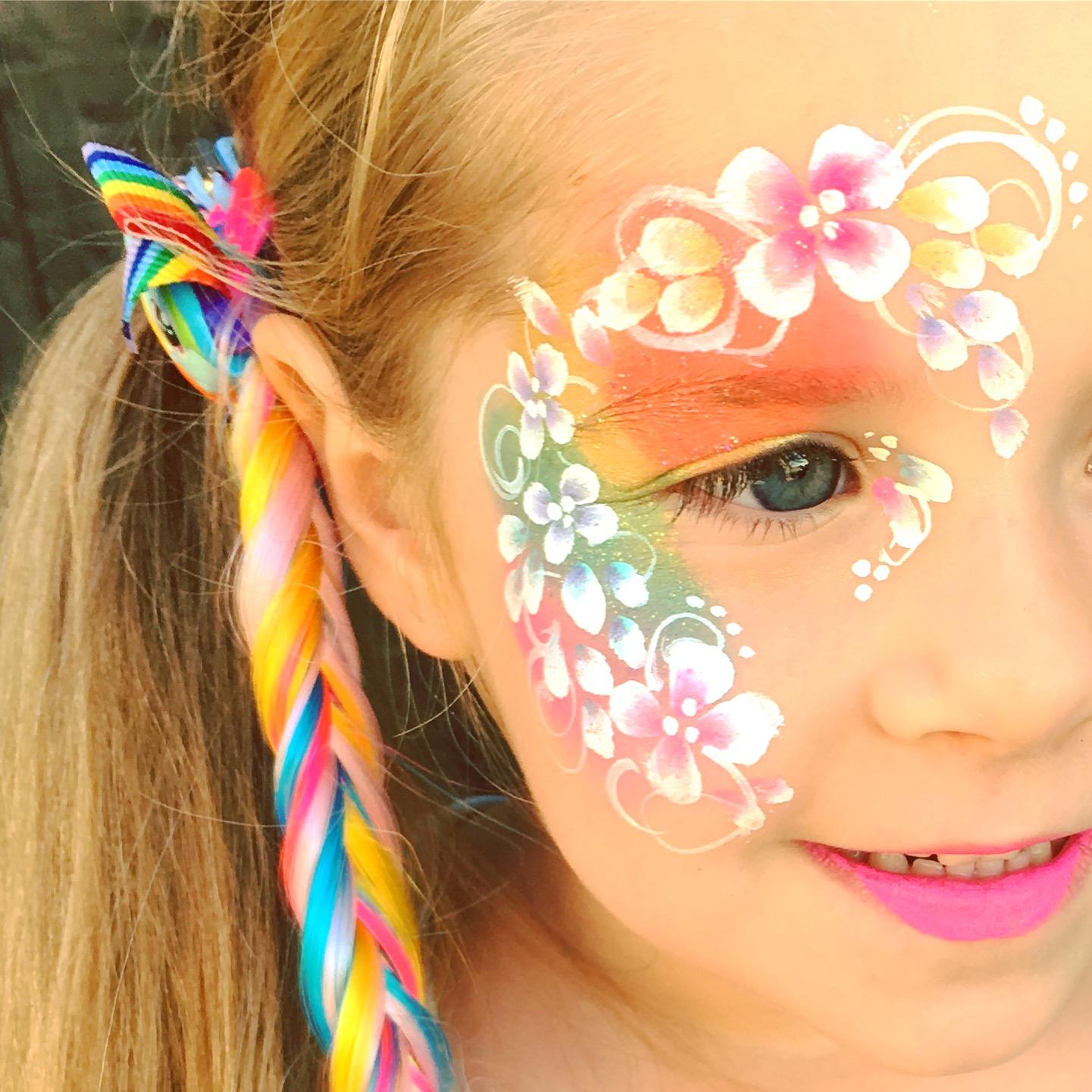 Rainbow Flower Face Paint.