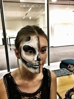 Creepy half skull make up
