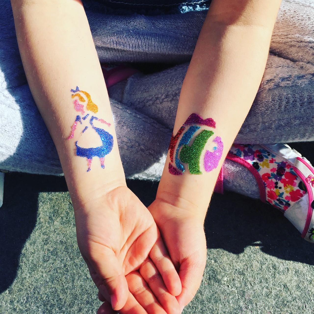 Alice and Rainbow Fish glitter tat