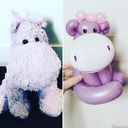 Purple hippo balloon model