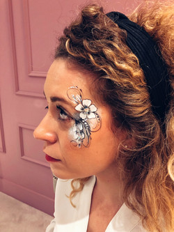 Black and white flower face paint