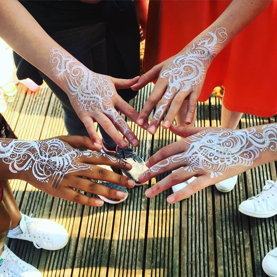 White hand paint