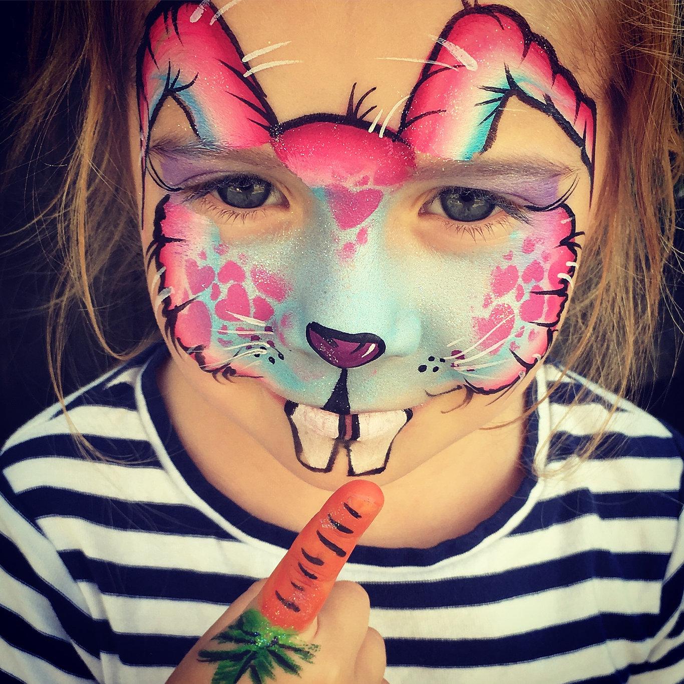Face painting emilys entertainment cute rabbit face paint sciox Images