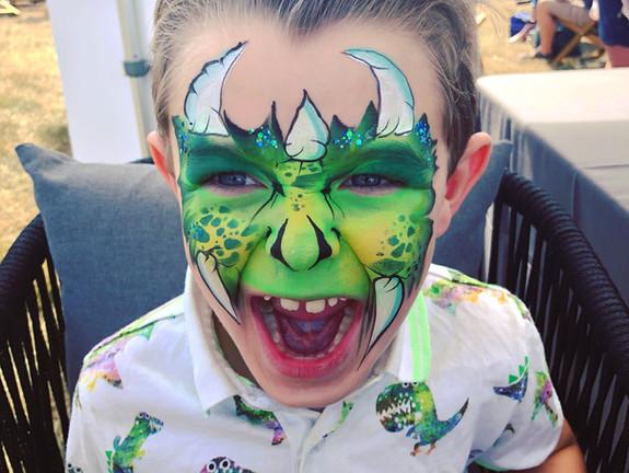 Childs dinosaur face paint